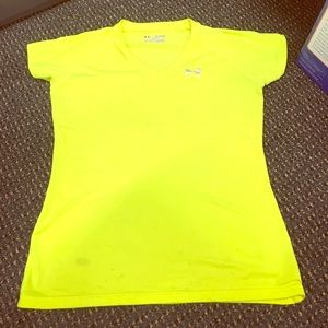 Under Armour women's bright yellow workout top XS