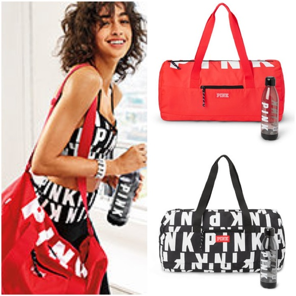 CORAL RED NEW! VICTORIA/'S SECRET PINK SPORT DUFFLE GYM BAG