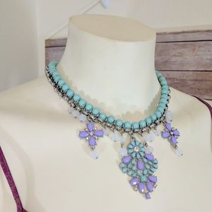 Jewelry - Mint & Lilac Beaded Statement Necklace