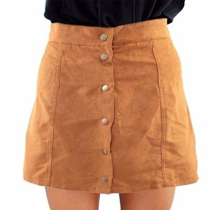 Suade Tan Button Up Skirt 00