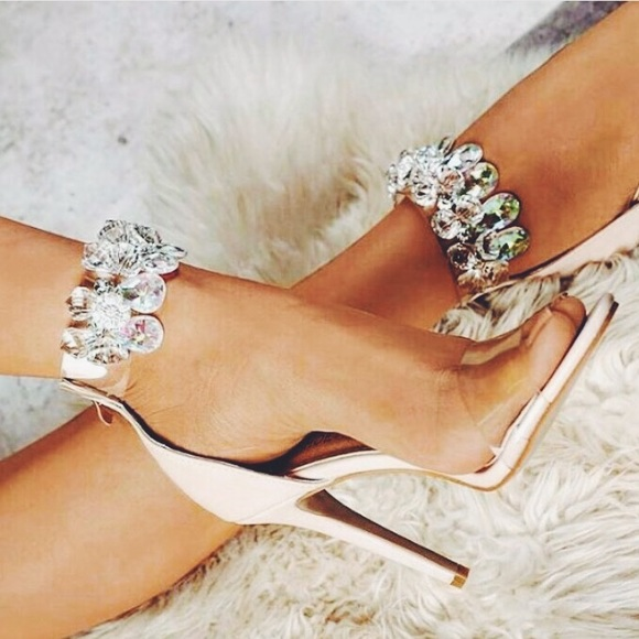 5d908f679d6d2 🆕Suzzy Nude Chandelier Ankle Strap Clear Heel Boutique