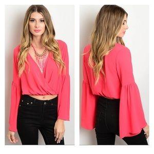 Tops - ⭕️FINAL PRICE⭕️ Sexy Pink Crop Top Flared Sleeves