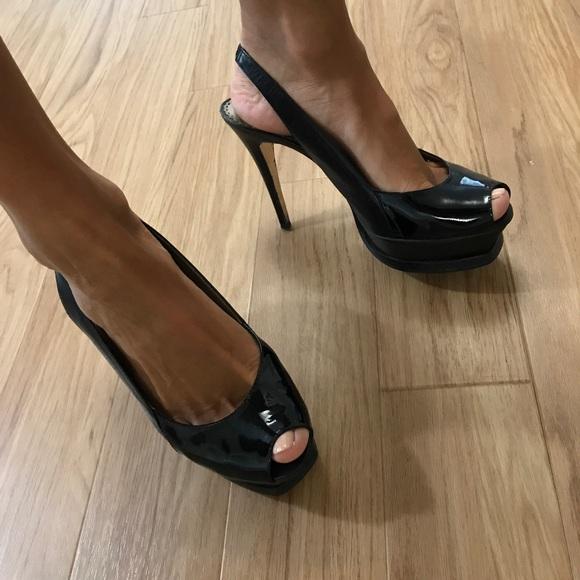 b217b270dba bebe Shoes - Black Bebe peep toe slingback platform heels