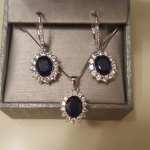 Nwt Sapphire Necklace & Earring Set From Zales