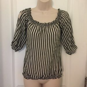 WHBM striped sheer silk blouse sz XS