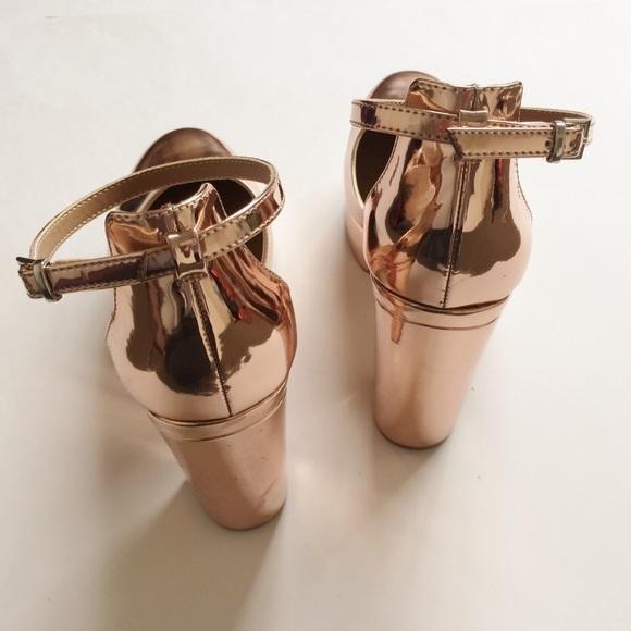 468ba199dcdc Asos Shoes - metallic mirror rose gold platform 70s chunky heel