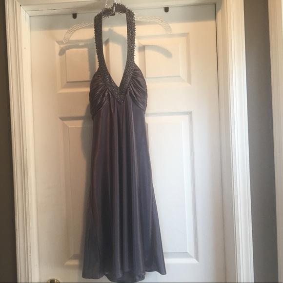 Morgan & Co. Dresses | Morgan Co Satin Pewter Evening Dress Size L ...