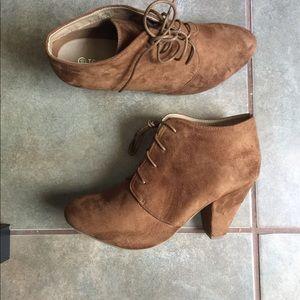 Faux suede shoes , camel color booties new