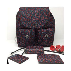 Coach Backpack, wallet, lanyard, key.