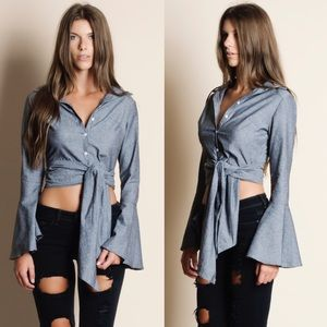 EMSLEY Bell Sleeve Button Down Top