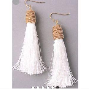Jewelry - White tassel earrings