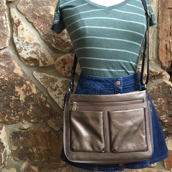 Fossil Handbags - Fossil Metallic Taupe Piper Crossbody