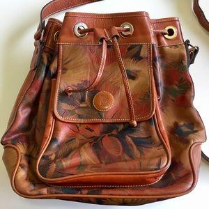 Handbags - SALE! Printed Leather Crossbody Drawstring Bag