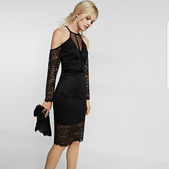 Express Dresses Lace And Velvet Piped Cold Shoulder Sheath Dress