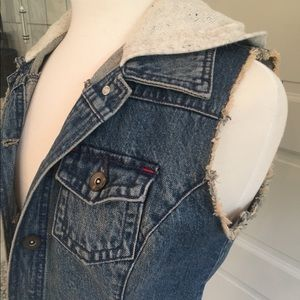 Sleeveless Hooded Jean Jacket