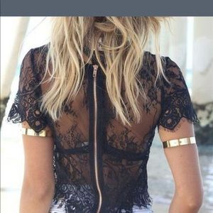 Tops - ⚡️flash sale⚡️Sexy lace crop top with zipper 5602a032c