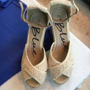 Shoes - Strappy Lace Wedge Heels