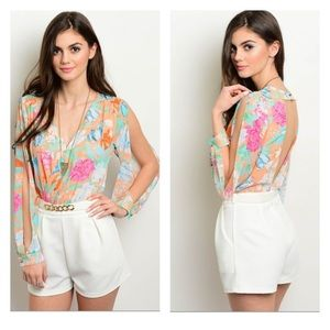 Pants - Floral Romper with Cutout Sleeves
