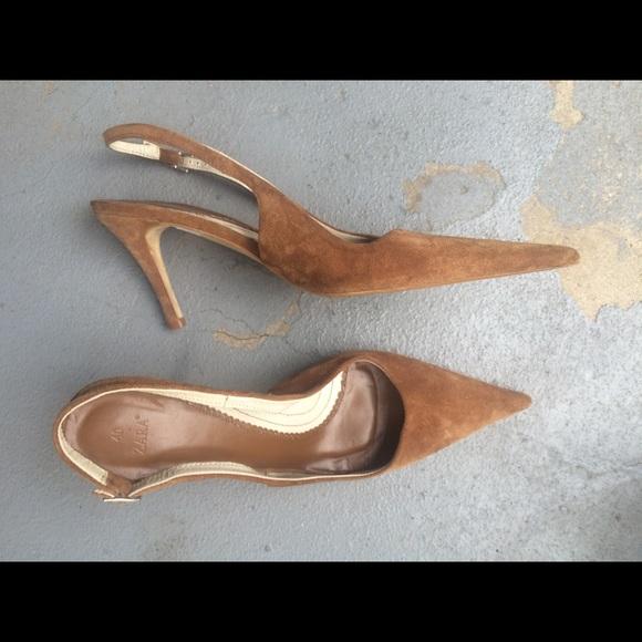 04ea70fe56 Zara camel suede pointed toe sling back heels. M_598b64a4a88e7d078f169ff6