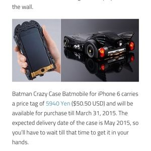 Other - Batmobile iPhone 6 or 6s Phone Case