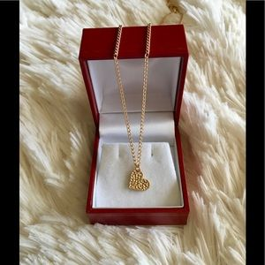 Jewelry - Crinkle Gold Heart Pendant with Chain