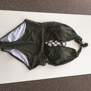 Lace-up swim suit *never worn* olive color