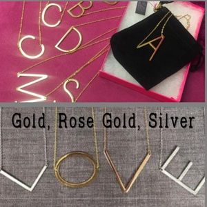 """Large, 1 1/2"""" Initial Necklaces, RoseGold,Gld or S"""