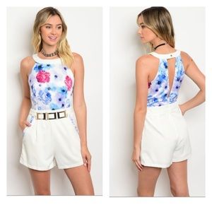 Pants - Blue and Ivory floral Romper