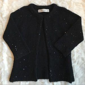 Zara Knit Black Sequined Cardigan Size Small