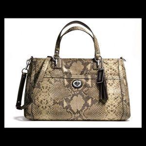 Coach park python leather carryall bag f24384