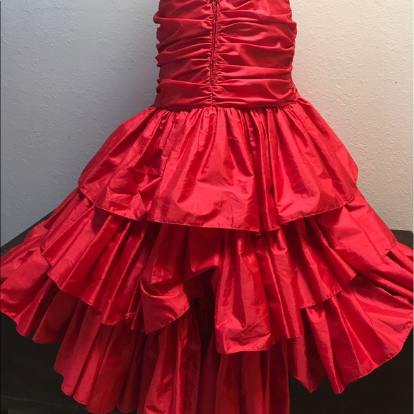 Vintage Dresses - Gorgeous Vintage sequin Red Strapless Dress Down