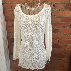 Ivory H&M sheer lace blouse