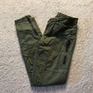 Army Green Zipper Pants