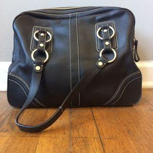9b38cd42447e Coach large black leather doctor-style satchel bag