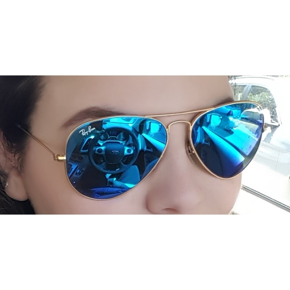 ray ban blue reflective lens round sunglasses