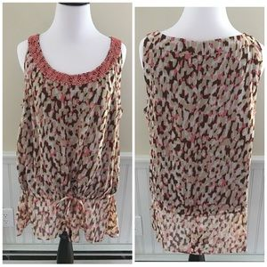 Emma James Beaded Chiffon Tank Top Size 12