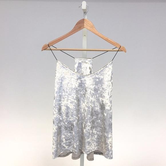 RGL Collection Tops - Silver Velvet Cami Top
