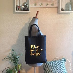 Handbags - Mom Of Boys Tote Bag Black With Gold Lettering NWT