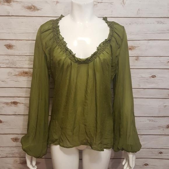 2e60e19a15e07 Roberto Cavalli olive green silk blouse. M 598b99752ba50a9e9a0091ac