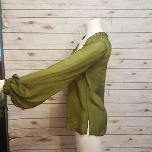 df47c75e427cc Roberto Cavalli Tops - Roberto Cavalli olive green silk blouse