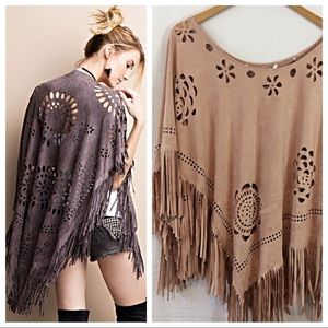 Sweaters - Laser Cut Faux Suede Poncho