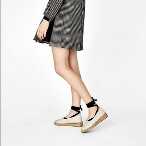 NWT Zara Leather Lace-Up Espadrilles