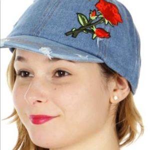 Accessories - Medium blue distressed baseball cap.
