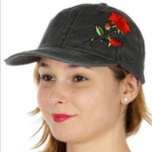 Black denim distressed baseball cap.
