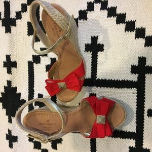 kate spade Shoes - Kate Spade New York 'Carmelita' red bow wedges