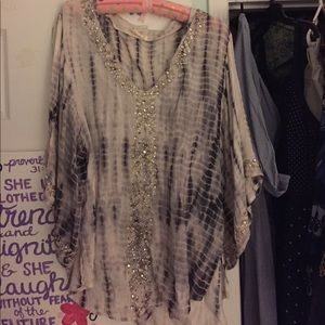 Sparkly/ tye dye flowy shirt
