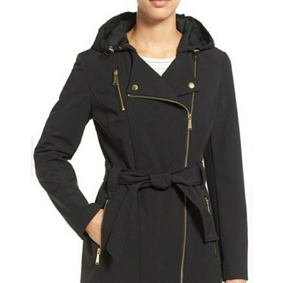 the best attitude 100% original half price MICHAEL KORS Asymmetrical Zip Trench coat belted
