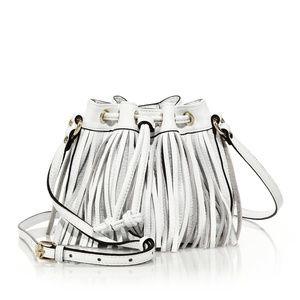 Rebecca Minkoff White 'Lexi' Fringe Bucket Bag