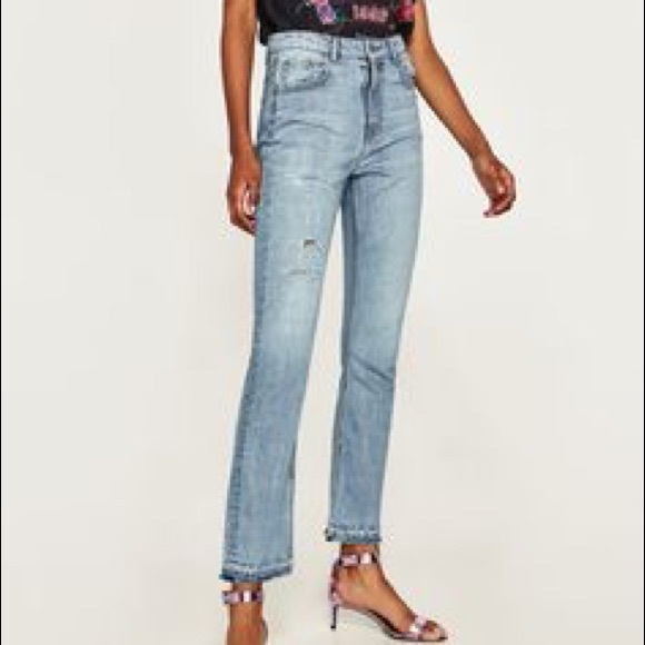 6a631f5c NWT Zara High Rise Straight Opened Hem Jeans NWT