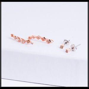 LUV AJ Diamond Kite Crawler Earring Set